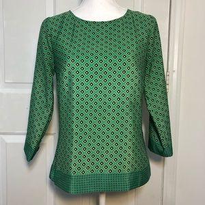 Foulard Printed Blouse - Green 3/4 Sleeve
